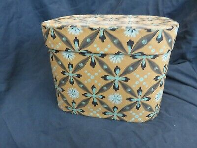 Vintage Antique Wallpaper Band Box Hat Box - Signed Eileen Sherrad