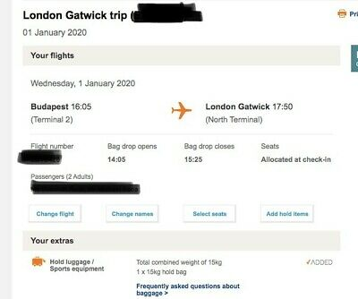 2 x flights from Budapest to London Gatwick for 1 Jan 2020