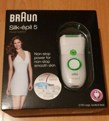 BRAUN SILK-EPIL 5 POWER EPILATOR 5780 WITH 7 EXTRA - Brand New Sealed