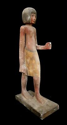 Ushabti Sculpture Egyptian Antique Shawabti Wooden Bead Mummy Large 18 Inch