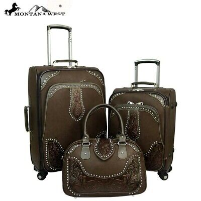 WRL-L1/2/3 Montana West Tooled Leather Collection 3 PC Luggage Set Color Coffee