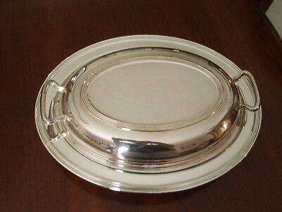 Vintage FB ROGERS Silverplate Covered Oval Serving BowlDishW/DividedGlass Insert
