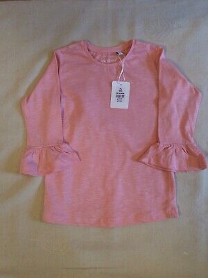 Girls 'Outfit Kids' Pink 100% Cotton Fluted Sleeve Top Age 7 Years