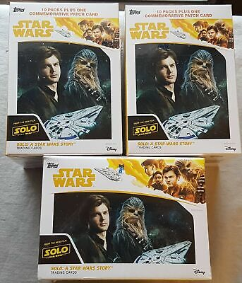 3x Solo a Star Wars Story Blaster Box (Topps 2018) One Patch Card per Box