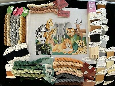 Jungle Animals Handpainted Needlepoint Canvas Bettieray Designs w Silk RB