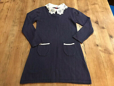 Girls Marks And Spencer Autograph Navy Dress Cotton Lace Collar Age 4-5 Years