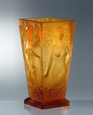 Glamorous Art Deco Amber Glass Nude Figural Large Vase H.Hoffmann