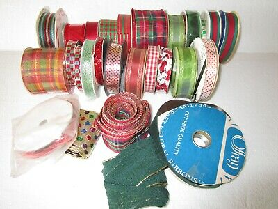 Mixed Lot Of 22+ Rolls Of Christmas Holiday Ribbon Crafts