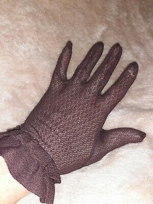 Vintage Brown Lace Gloves size 6/7 small prop theatre delicate panto dark opera