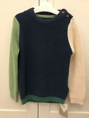 BNWT Boys Marks and Spencer Chunky Knit Jumper 2-3 Years - Cream Navy Green