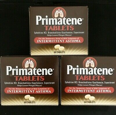 Primatene 60 Tablets Asthma Allergy Relief Similier To Bronkaid Free Shipping