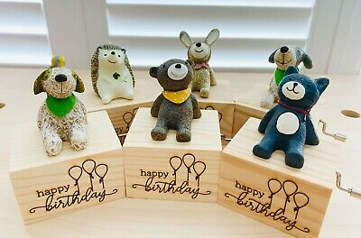 Personalised Engraved Wooden Hand Crank Music Box/Gift with a Cute Animal Figure