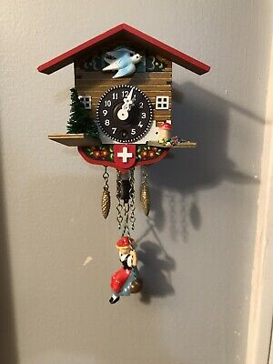 Swiss Chalet Wind Up Clock With Girl On Swing, Works! Missing Key Mini Cookoo