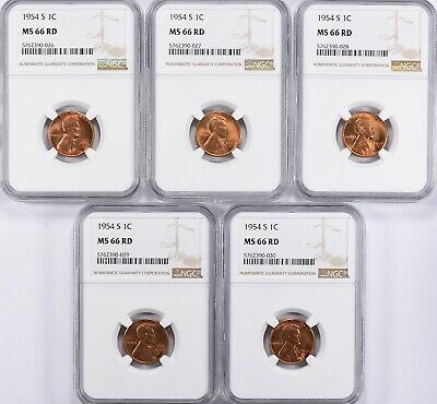 NGC USA United States 1954-S Lincoln Cent NGC MS-66 RD x 5 coins