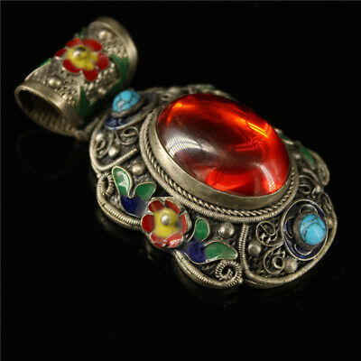 """2.76"""" Old Chinese Exquisite Cloisonne silver inlay Red zircon Handmade Pendant"""