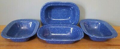 4 Enamelware Pie Plates Individual Blue And White Speckled Vintage