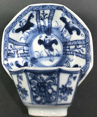 Antique Chinese Kangxi Blue And White Porcelain Cup And Saucer With Boys 18th C