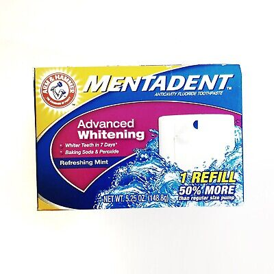 Mentadent Toothpaste 1 Refill Refreshing Mint Advanced Whitening 5.25 oz
