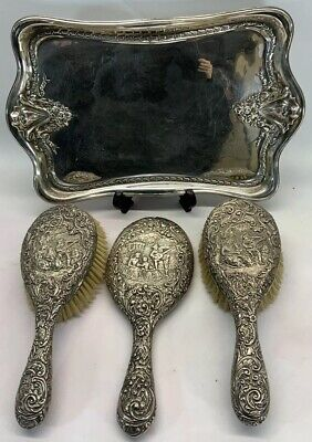 Edwardian 1904 HENRY MATTHEWS Sterling Silver Mirror, Dressing Table Set, Solid