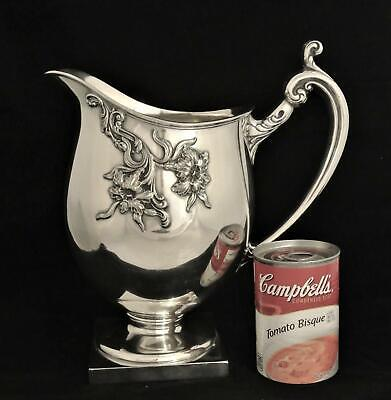 Victorian Derby Art Nouveau Embossed Repousse Floral Tea Pitcher Water Pitcher