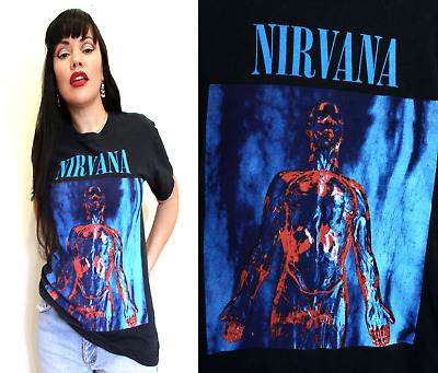 NIRVANA SLIVER T SHIRT Vintage 90s Tour Vintage Worn Holes faded In Utero Bleach