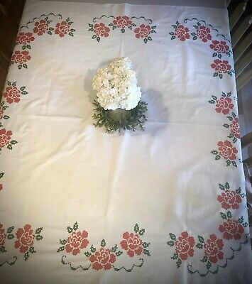 VINTAGE  EMBROIDERED Cross Stitch Roses TABLECLOTH French Country