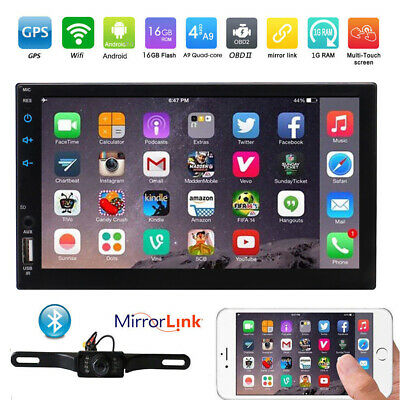 """Android 6.0 7"""" 2Din InDash Car MP5 Radio Stereo Player WiFi 4G GPS+Tablet+Camera"""