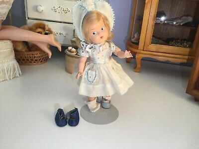 Vintage Vogue Pre Ginny Toddles Painted Eye doll  (1943?) Extra Front Snap Shoes