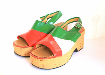 WILD MOD PLATFORMS Patent Green White and Red Cork Wedge Retro Shoes hippy italy