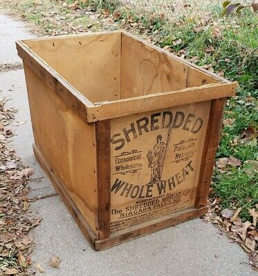Vintage Large Wood Shredded Whole Wheat Shipping Crate Antique Advertising Box