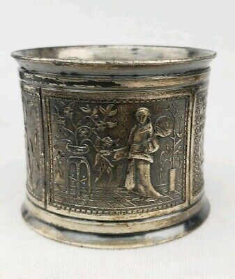 Antique Ornate Napkin Ring Oriental Scene With Birds Asian