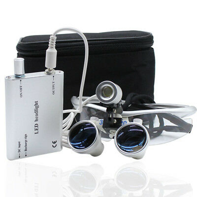 Dental Surgical Binocular 3.5X420mm Loupe Magnifying Glasses +LED Headlight lamp