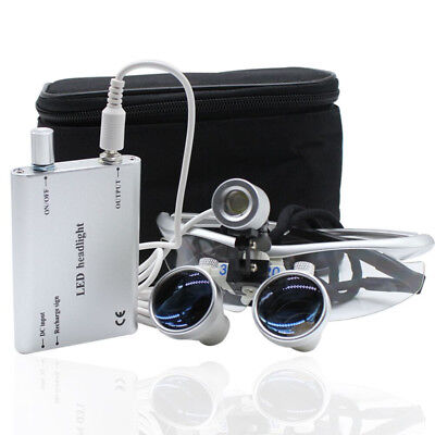 Dental 3.5X 420mm Binocular Loupes Magnifier Glasses+ LED Head Light Lamp silver