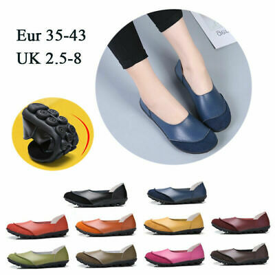 US 8 Women Flats Loafers Comfy Leather Shoes Casual Moccasins Pumps Boat Slip On