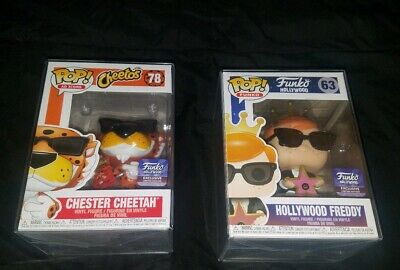 Funko Pop! Hollywood Exclusive Chester Cheetah #78 and Freddy #63 w/ Protector