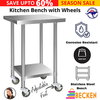 Cefito 430 Stainless Steel Kitchen Benches Work Bench Food Prep Table with Wheel