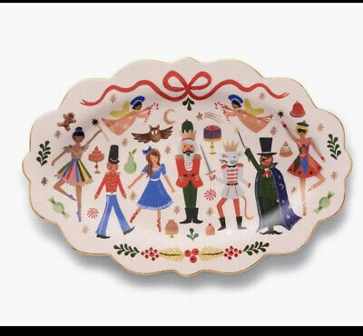Anthropologie Rifle Paper Co Large Nutcracker Christmas Platter Plate NEW 2019