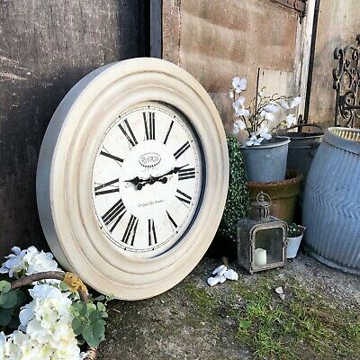 Stunning Large French Country Chic Grey Painted Thick Wooden Framed Wall Clock