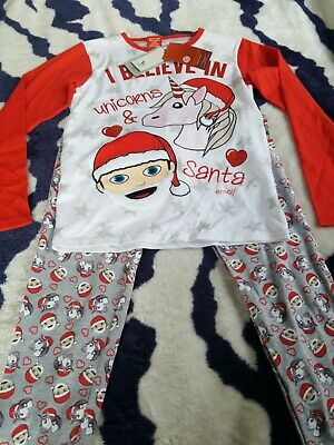 BNWT Girls Christmas pyjamas EMOJI at TU size 11 - 12 years.