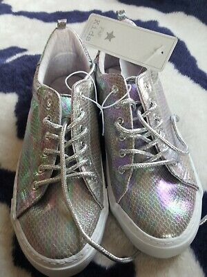 Girls shoes Sneakers trainers BNWT size older girl 5 EU38 hologram colours