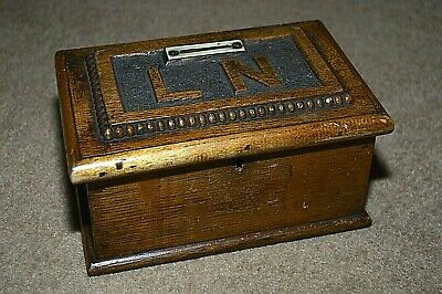 Vintage carved wooden church money donations box LN