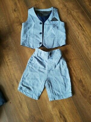 Boys blue Waistcoat Shorts Set 2-3 party wedding occasion outfit smart *BARGAIN*
