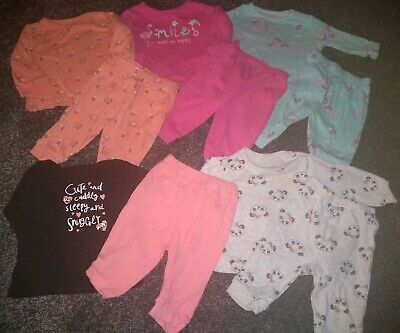 Baby Girls Bundle Of 5 pairs of pyjamas 3-6 Months Excellent Condition