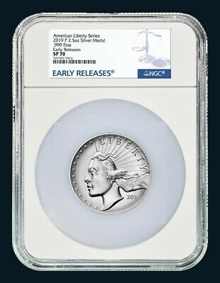 2019 P 2.5 oz Silver Medal High Relief American Liberty NGC SP 70 ER - Oversized