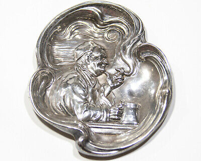 Art Nouveau Monk Drinking Smoking Sterling Silver Tip Tray Bar Antique VTG Deco