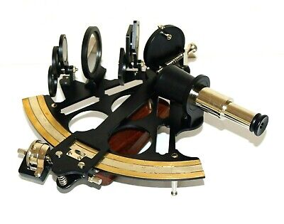New Sextant 8'' working navy navigation Antique vintage replica with wooden box