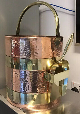 STUNNING Large antique copper and brass bucket logs coal with matching shovel