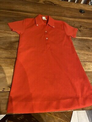 VINTAGE 70's TOMATO RED RETRO POLO DRESS DEADSTOCK NEVER WORN 3/4