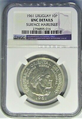 Uruguay 10 Pesos -1961 - Ngc Unc Details - Surface Hairlines - Silver - Bwb-624