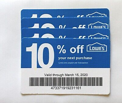 4 Lowe's Blue Card 10% Off For Home Depot + Other Comp Not Lowe's  Exp 03/15/20